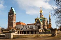 Huwelijkstoren en Russische kapel in Darmstadt Royalty-vrije Stock Afbeeldingen