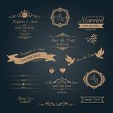 Huwelijkstypografie met monogrammen Royalty-vrije Stock Foto