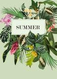 Huwelijksuitnodiging, de bloemen nodigt dankt u, rsvp het moderne tropische boeket van het kaartontwerp uit vector illustratie