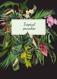 Huwelijksuitnodiging, de bloemen nodigt dankt u, rsvp het moderne tropische boeket van het kaartontwerp uit royalty-vrije illustratie