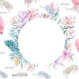 Huwelijksuitnodiging, de bloemen nodigt kaart uit, doorbladert de roze bloemen en groen geometrisch gouden kader Vormkader Witte  vector illustratie