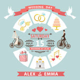 Huwelijksuitnodiging in infographic stijl Bruid, bruidegom op retro bi Stock Foto