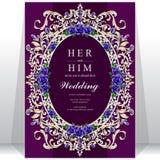 Huwelijksuitnodiging of kaart met abstracte achtergrond Royalty-vrije Stock Foto's