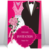 Huwelijksuitnodiging of kaart met abstracte achtergrond Royalty-vrije Stock Afbeelding