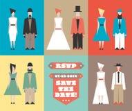 Huwelijksuitnodiging met beeldjes Royalty-vrije Stock Afbeeldingen