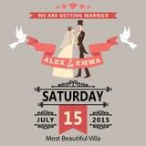 Huwelijksuitnodiging met beeldverhaalbruid en bruidegom. Retro stijl vector illustratie