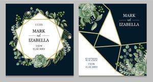 Huwelijksuitnodiging met bladeren, succulente en gouden elementen in waterverfstijl Eucalyptus, magnolia, varen en andere stock illustratie