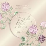 Huwelijksuitnodiging met bloemen en bladeren op gouden, roze textuur 1d luxekaart op gouden achtergronden, dekkingsontwerp N stock illustratie