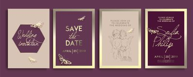 Huwelijksuitnodiging met bloemen, engelen en vlinders op gouden textuur de kaart van het luxehuwelijk op gouden achtergronden, ar vector illustratie