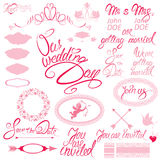 Huwelijksuitnodiging met bloemenelementen wordt geplaatst dat Royalty-vrije Stock Fotografie