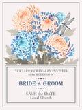 Huwelijksuitnodiging met chrysanten stock illustratie