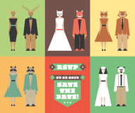 Huwelijksuitnodiging met dierlijke hoofdbeeldjes Royalty-vrije Stock Fotografie