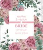 Huwelijksuitnodiging met gevoelige roze rozenvector Mooie verticale kaart bloemen 3d achtergronden Royalty-vrije Stock Afbeeldingen