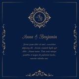 Huwelijksuitnodiging met monogram Stock Afbeeldingen