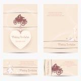 Huwelijksuitnodiging met silhouetten Stock Fotografie