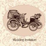 Huwelijksuitnodiging met uitstekend naadloos vectorpatroon Stock Afbeeldingen