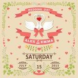 Huwelijksuitnodiging met zwanenpaar en bloemenkader Stock Foto
