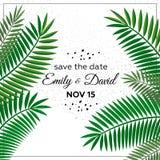 Huwelijksuitnodiging, modern kaartontwerp: de groene tropische decoratieve kroon van het palmbladgroen, vectorillustratie Royalty-vrije Stock Afbeelding