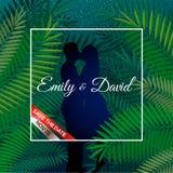 Huwelijksuitnodiging, modern kaartontwerp: twee mensen kussen in groen tropisch palmblad, vectorillustratie Royalty-vrije Stock Fotografie