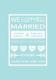 Huwelijksuitnodiging in retro affichestijl op blauw Royalty-vrije Stock Foto