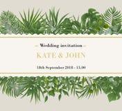 Huwelijksuitnodiging, rsvp modern kaartontwerp Vector natuurlijk, bot stock foto's