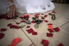 Huwelijksvloer met rode bloemblaadjes en vlinders royalty-vrije stock foto