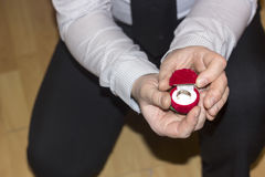 Huwelijksvoorstel met een mooie ring Stock Foto
