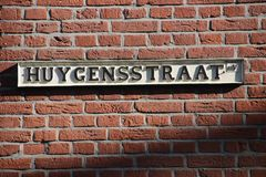 Huygensstraat, name of a street in Voorburg, the Netherlands, about the brothers Christiaan Huygens and constatijn Huygens who whe. Re great inventors royalty free stock images