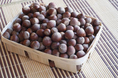 Huzelnuts in a wicker basket. Horizontal image Royalty Free Stock Images