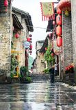 HUZHOU, CHINA - MAY 3, 2017: Huang Yao Ancient Town in Zhaoping. County, Guangxi province. Traditional Chinese architecture and street decoration stock photo