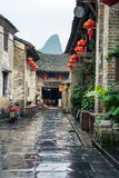HUZHOU, CHINA - MAY 3, 2017: Huang Yao Ancient Town in Zhaoping. County, Guangxi province. Traditional Chinese architecture and street decoration Royalty Free Stock Photos