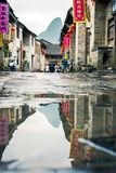 HUZHOU, CHINA - MAY 3, 2017: Huang Yao Ancient Town in Zhaoping. HUZHOU, CHINA - MAY 3, 2017: Huang Yao Ancient Town street in Zhaoping county, Guangxi province Stock Photos