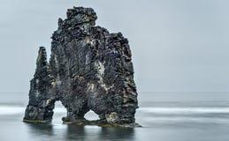 HvÃtserkur, roca del duende, en el día nublado de Islandia Fotografía de archivo libre de regalías