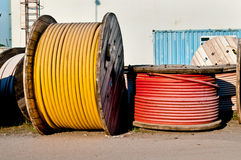 HV cable on wooden spool Royalty Free Stock Photography