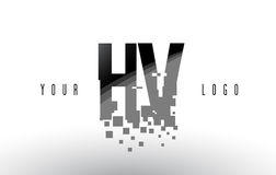 HV H V Pixel Letter Logo with Digital Shattered Black Squares illustration stock