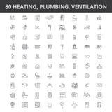 HVAC, calefacción, aire acondicionado, ventilación, servicio de la fontanería, caldera, acondicionador casero, ingeniería, línea  libre illustration