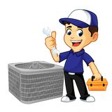 Hvac Cleaner or technician hold wrench and toolbox. Cartoon illustration, can be download in vector format for unlimited image size royalty free illustration