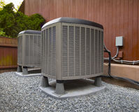 HVAC heating and air conditioning residential units Stock Images