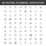 Hvac, heating, air conditioning, ventilation, plumbing service, boiler, home conditioner, engineering, radiator line. Hvac, heating, air conditioning royalty free illustration