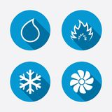 HVAC. Heating, ventilating and air conditioning. HVAC icons. Heating, ventilating and air conditioning symbols. Water supply. Climate control technology signs Stock Photography