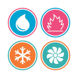 HVAC. Heating, ventilating and air conditioning. HVAC icons. Heating, ventilating and air conditioning symbols. Water supply. Climate control technology signs Stock Image