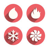 HVAC. Heating, ventilating and air conditioning. HVAC icons. Heating, ventilating and air conditioning symbols. Water supply. Climate control technology signs Stock Photo