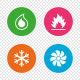 HVAC. Heating, ventilating and air conditioning. HVAC icons. Heating, ventilating and air conditioning symbols. Water supply. Climate control technology signs Royalty Free Stock Photography