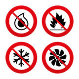 HVAC. Heating, ventilating and air conditioning. No, Ban or Stop signs. HVAC icons. Heating, ventilating and air conditioning symbols. Water supply. Climate Stock Photography