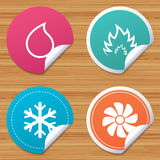 HVAC. Heating, ventilating and air conditioning. Round stickers or website banners. HVAC icons. Heating, ventilating and air conditioning symbols. Water supply Royalty Free Stock Images