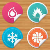 HVAC. Heating, ventilating and air conditioning. Round stickers or website banners. HVAC icons. Heating, ventilating and air conditioning symbols. Water supply Stock Image