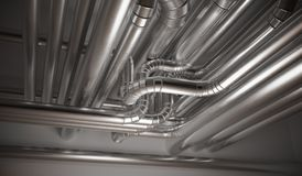 HVAC heating, ventilation and air conditioning pipes. 3D rendered illustration.  vector illustration