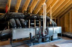 HVAC in residential house. HVAC system in the residential house attic Stock Photography