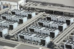 HVAC systems rooftop. Industrial air conditioning in an large exhibition hall stock image