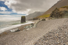 Hvalnes Icelandic rocky coastline. Royalty Free Stock Images